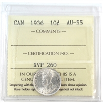 1936 Canada 10-cents ICCS Certified AU-55