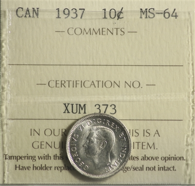 1937 Canada 10-cents ICCS Certified MS-64 (XUM 373)