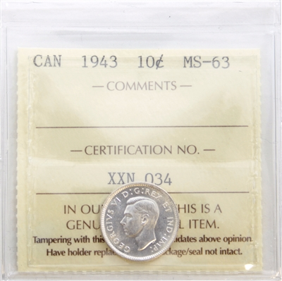 1943 Canada 10-Cents ICCS Certified MS-63 (XXN 034)
