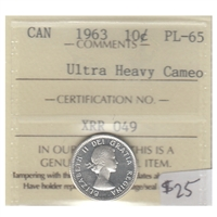 1963 Canada 10-cent ICCS Certified PL-65 Ultra Heavy Cameo