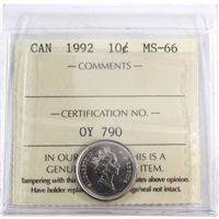 1992 Canada 10-cent ICCS Certified MS-66