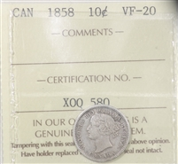 1858 Canada 10-cents ICCS Certified VF-20 (XOQ 580)