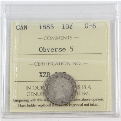 1885 Obv. 5 Canada 10-cents ICCS Certified G-6