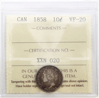 1858 Canada 10-cents ICCS Certified VF-20 (XXN 020)