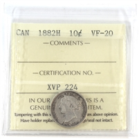 1882H Canada 10-cents ICCS Certified VF-20
