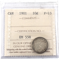 1901 Canada 10-cents ICCS Certified F-15