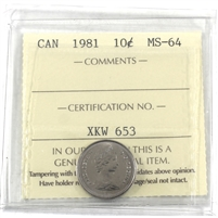 1981 Canada 10-cents ICCS Certified MS-64