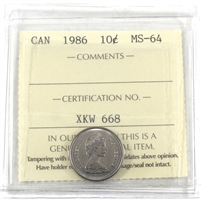 1986 Canada 10-cents ICCS Certified MS-64