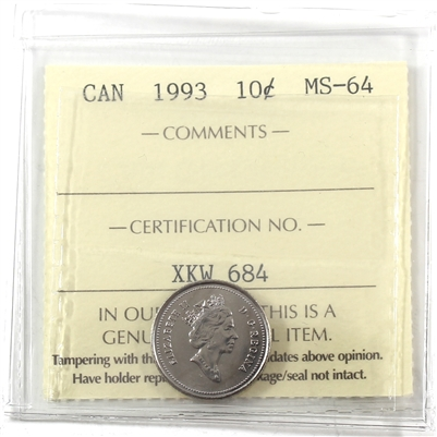 1993 Canada 10-cents ICCS Certified MS-64