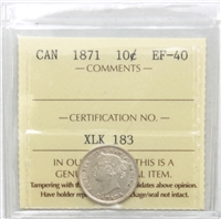 1871 Canada 10-cent ICCS Certified EF-40