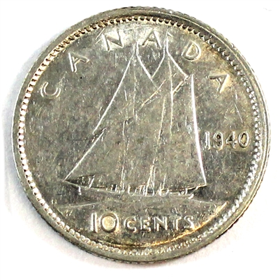 1940 Re-Engraved Canada 10 Cents Extra Fine (EF-40)
