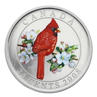 RDC 2008 25-cent Birds of Canada - Northern Cardinal (impaired)