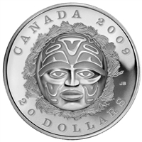 RDC 2009 Canada $20 Summer Moon Mask Fine Silver (No Tax) Impaired
