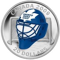 2009 Canada $20 Toronto Maple Leafs NHL Goalie Mask & Acrylic Stand Sterling Silver