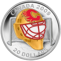 2009 Canada $20 Calgary Flames NHL Goalie Mask Coin & Acrylic Stand Sterling Silver
