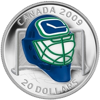 2009 Canada $20 Vancouver Canucks NHL Goalie Mask & Acrylic Stand Sterling Silver