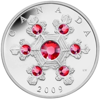 2009 Canada $20 Pink Crystal Snowflake (TAX Exempt) bent sleeve