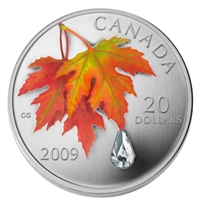 2009 Canada $20 Autumn Showers Crystal Raindrop Fine Silver