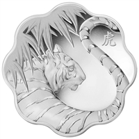 2010 Canada $15 Lunar Lotus Year of the Tiger Sterling Silver Coin