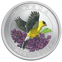 RDC 2010 25-Cents Birds of Canada - Goldfinch (Impaired)