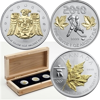 2010 Canada $5 Vancouver Olympic Silver 3-coin Gold Plated Silver Set (No Tax)