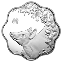 2019 $15 Lunar Lotus Year of the Pig Fine Silver