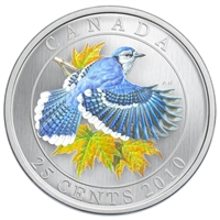 RDC 2010 25-cent Birds of Canada - Blue Jay (sticker on sleeve, label damaged)