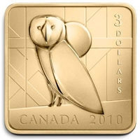 RDC 2010 Canada $3 Wildlife Conservation - Barn Owl Square Sterling Silver (Impaired)