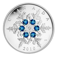 2010 Canada $20 Blue Crystal Snowflake Fine Silver (TAX Exempt)