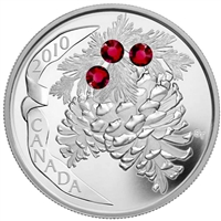 2010 Canada $20 Ruby Crystal Pinecone Fine Silver Coin (TAX Exempt)