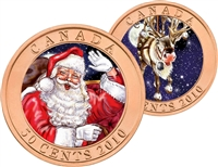 2010 Canada 50-cent Santa & Red-Nosed Reindeer Lenticular Coin