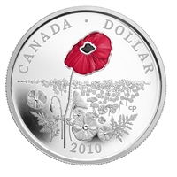 2010 Canada Limited Edition Proof Sterling Silver Dollar - Poppy