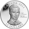 2011 Canada $15 H.R.H. Prince William of Wales UHR Sterling Silver
