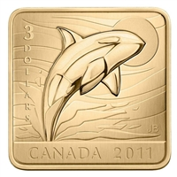 2011 Canada $3 Wildlife Conservation - Orca Sterling Silver Square Coin