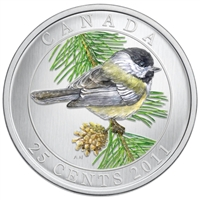 2011 25-cent Birds of Canada - Black-Capped Chickadee