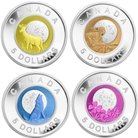 RDC 2011-2012 Canada $5 Full Moons Sterling Silver & Niobium 4-coin Set (Impaired)