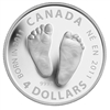 2011 Canada $4 Welcome to the World - Baby Feet Silver (No Tax) dented sleeve