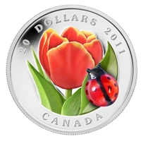 2011 Canada $20 Tulip with Venetian Glass Ladybug Fine Silver Coin