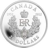 2012 Canada $20 Queen's Diamond Jubilee - Royal Cypher Silver (No Tax)