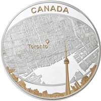 2011 Canada $25 Toronto City Map 2oz. Gold Plated Fine Silver (No Tax)