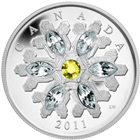 2011 Canada $20 Topaz Crystal Snowflake Fine Silver (TAX Exempt)