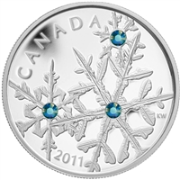 2011 Canada $20 Small Crystal Snowflake - Montana Fine Silver (creased sleeve)