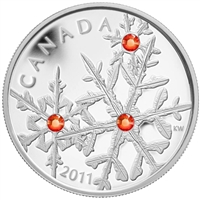RDC 2011 Canada $20 Small Crystal Snowflakes - Hyacinth Fine Silver (No Tax) Scratch
