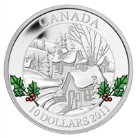 RDC 2011 Canada $10 Winter Town Fine Silver Coin (TAX Exempt) Scratched Capsule