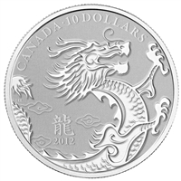2012 Canada $10 Year of the Dragon 1/2oz. Fine Silver (No Tax)