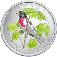 2012 25-cent Birds of Canada - Rose-Breasted Grosbeak