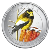 2012 25-cent Birds of Canada - Evening Grosbeak
