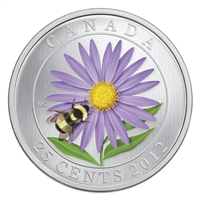 2012 Canada 25-cent Flower & Fauna - Aster and Bumble Bee Cupronickel Coloured Coin