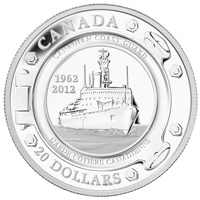 RDC 2012 Canada $20 50 Years of the Coast Guard Fine Silver (No Tax) scratched capsule