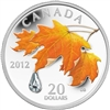 2012 Canada $20 Maple Leaf Crystal Raindrop Fine Silver